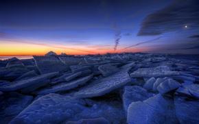 Картинка лед, зима, небо, облака, закат, оранжевый, озеро, луна, вечер, льдины, Швеция, синее