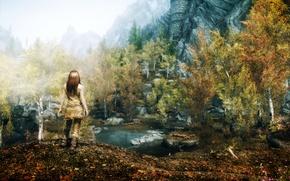 Картинка девушка, Природа, Горы, Игра, Скалы, Деревья, Водоем, Skyrim
