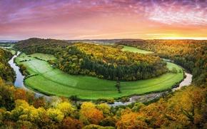 Картинка осень, небо, деревья, река, краски, Англия, River Wye