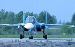 Картинка истребитель, бомбардировщик, аэродром, российский, Су-34, многофункциональный, передок.