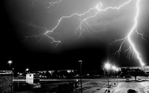 Обои молния, ночь, город