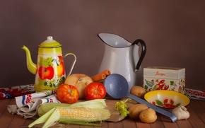 Обои помидор, кукуруза, натюрморт, овощи, картофель, посуда, лук
