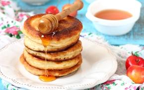 Обои мед, десерт, черешня, блинчики