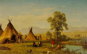 Обои пейзаж, картина, вигвам, Альберт Бирштадт, Селение Сиу близ Форт-Ларами