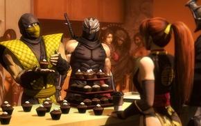 Картинка Ninja Gaiden, dead or alive, scorpion, crossover, кекс, mortal kombat, mileena, fan art, jade, Raiden, …
