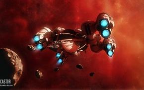 Картинка spaceship, esa castor, asteroids
