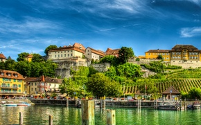 Картинка деревья, озеро, берег, HDR, дома, Германия, причалы, Meersburg, Lake Constance