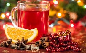 Обои анис, Новый Год, бусы, праздники, чашка, глинтвейн, напиток, бадьян, апельсин, Рождество, корица