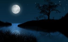 Картинка звезды, пейзаж, ночь, луна, рисунок
