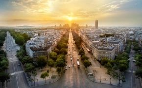 Картинка деревья, закат, машины, город, Франция, Париж, здания, дороги, дома, вечер, панорама, Paris, архитектура, улицы, France, …