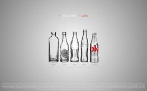 Картинка дизайн, бутылки, coca-cola, эволюция, design, evolution, кока-кола, 2560x1600, bottles, coke, years, годы