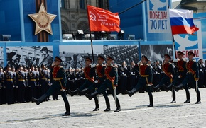 Картинка город, праздник, день победы, Москва, красная площадь, марш