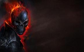 Картинка темный фон, огонь, череп, скелет, Ghost Rider, Призрачный гонщик
