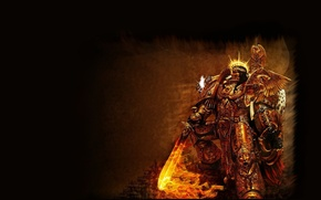 Картинка пламя, меч, когти, Warhammer, 40k, золотая броня, Emperor of Mankind, Император Человечества