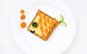 Обои оливки, креатив, тарелка, сыр, хлеб, еда, завтрак, огурец, морковь