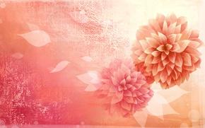 Картинка цветок, листья, минимализм, вектор, лепестки, бутон