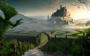 Картинка замок, фантастика, лабиринт
