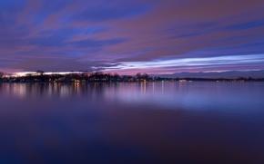 Картинка небо, облака, деревья, закат, огни, река, берег, вечер, USA, США, сумерки, river, фиолетовое, округ, Baltimore, ...