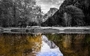 Картинка небо, деревья, закат, горы, отражение, река, скалы, США, Yosemite National Park, Сьерра-Невада
