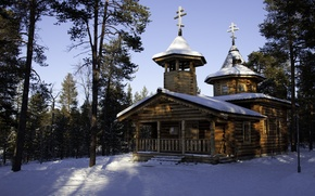 Картинка храм, зима, монастырь. собор, природа, Финляндия, фото, Lapland