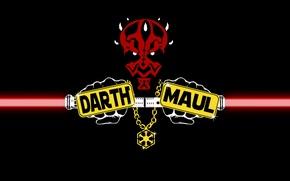 Картинка Минимализм, Star Wars, Darth Maul, Световой меч, Звездные Войны, lightsaber, sith, Дарт Мол, Темная сторона