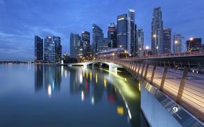 Картинка вода, мост, отражение, рассвет, небоскребы, залив, Сингапур, архитектура