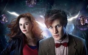 Картинка взгляд, девушка, пузыри, фон, фантастика, шары, майка, актриса, актер, мужчина, рубашка, цепочка, рыжие волосы, Doctor …