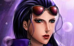 Обои art, lilyzou, девушка, nico robin, взгляд, очки
