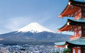 Обои город, Япония, сакура, Фудзияма