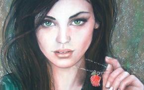 Картинка взгляд, девушка, лицо, брюнетка, живопись, зеленые глаза, подвеска