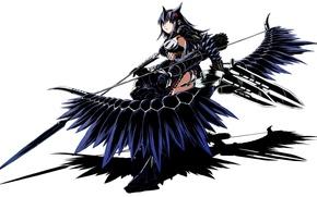 Картинка девушка, оружие, лук, арт, стрелы, ушки, monster hunter, funamushi, funa, naruga kuruga
