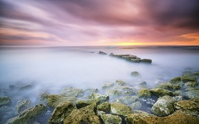 Картинка камни, океан, рассвет, выдержка, Bali, Indonesia, Sanur, Matahari Terbit Beach