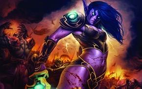Обои битва, эльф, World of Warcraft