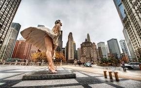 Картинка небоскребы, Чикаго, USA, Chicago, мегаполис, Marilyn Monroe, illinois, Мерлин Монро