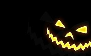 Картинка улыбка, Halloween, тыква, хэллоуин, чёрный фон
