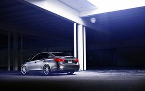 Картинка Infiniti, silver, vossen wheels, rearside, Q50S