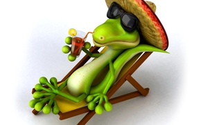 Картинка отдых, релакс, шляпа, крокодил, очки, шезлонг, коктейль, курорт, сомбреро