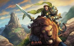 Картинка хищник, горы, арт, воин, всадник, World of Warcraft, замок, мужчина, меч, лев, камни