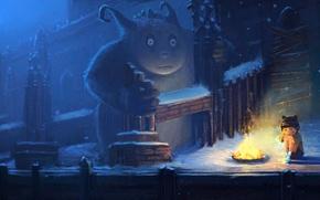 Картинка холод, зима, снег, ночь, одиночество, замок, ребенок, монстр, костер, арт, девочка, руины, заброшенность