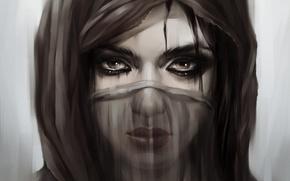 Картинка глаза, Девушка, маска, паранджа