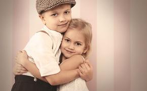 Обои за руку, мальчик, друзья, Little girls, embrace, любовь, Boys, ребенок, friends, объятия, ретро, девочка