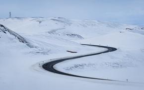 Обои дорога, горы, снег, пейзаж, зима