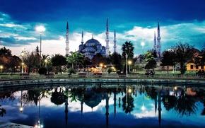 Картинка город, вечер, мечеть, минареты, Истанбул