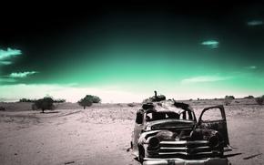 Обои старость, машины, время, зеленый, ржавый, забытость, одиночество, черно-белый, прошлое, пустыня, назад, усталость