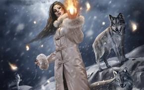 Картинка зима, девушка, фентези, волки, магия огня