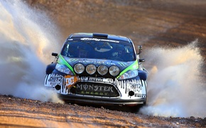 Картинка Ford, Авто, Спорт, Форд, Брызги, Фары, WRC, Ken Block, Rally, Ралли, Fiesta, Передок