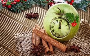 Картинка украшения, яблоко, Рождество, Новый год, корица, Christmas, decoration, xmas, Merry