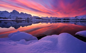 Картинка Sky, Fire, Landscape, Sunset, Essence, Norway, Nice, Lofoten