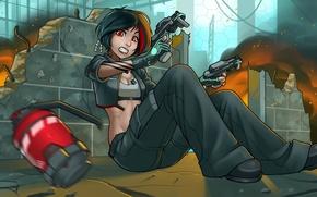 Картинка девушка, испуг, огонь, пистолеты, граната, аниме, укрытие, арт, разрушение, перестрелка