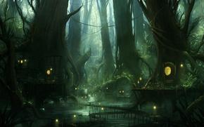 Картинка деревья, ветки, болото, дорожки, огоньки, домики, сказочное
